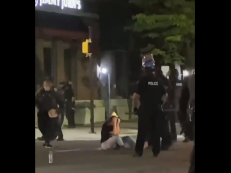 Hannah Silbaugh, 21, attended a protest in Erie on Saturday, May 30, 2020. A video of her being struck by a police officer has gained national attention. (Screenshot from Twitter video / @the7goonies)