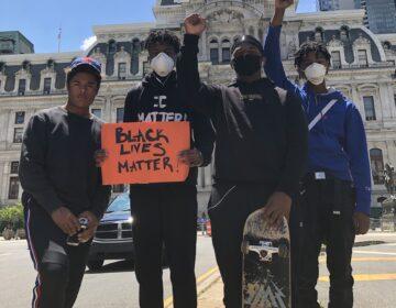 Solomon Jones took his son to the George Floyd protests in Philadelphia. (Photo by Solomon Jones)