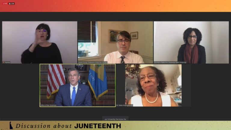 Gov. John Carney hosted an online conversation about Juneteenth with some of the state's black history leaders. (Mark Eichmann/WHYY)