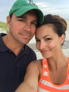 Dr. Lauren Jenkins and her husband, Jax Roux, on the beach in Wildwood Crest, N.J. before the COVID-19 pandemic forced them to live separately.