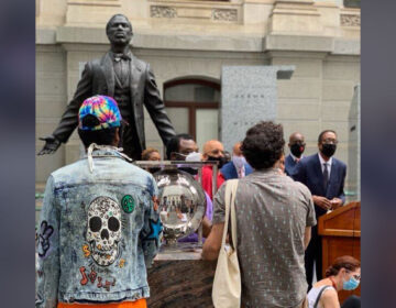 City Council Darrell Clarke  introduces Council's budget proposal in front of a statue of Octavius Catto outside of City Hall. (Courtesy of Jessica Garz)