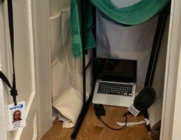Reporter Jad Sleiman's closet studio (Jad Sleiman/ WHYY)