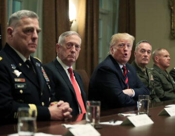 President Donald Trump in October 2018 with, from left, Army Chief of Staff Gen. Mark Milley, Defense Secretary Jim Mattis, Chairman of the Joint Chiefs of Staff Gen. Joseph Dunford and Marine Corps Commandant Gen. Robert Neller.