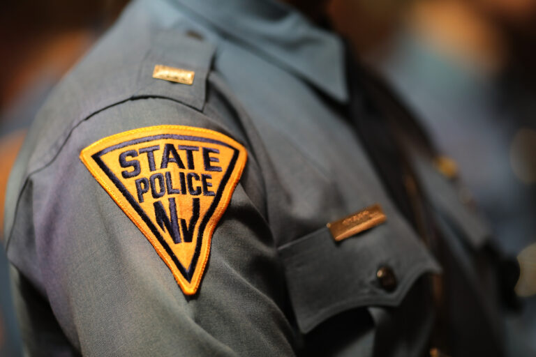 A close-up of a New Jersey State Police Officer's uniform
