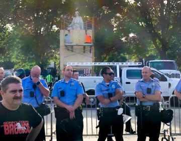 Philly police officers at Marconi Plaza during a June rally sparked by the Columbus statue. (Michaela Winberg/Billy Penn)