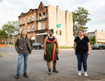 From left to right: architect Chris Mulford, historic preservationist Maya Thomas, and preservation architect Dana Rice are working on a campaign to save the former home of Dox Thrash, a Black artist and print maker. (Ryan Collerd)