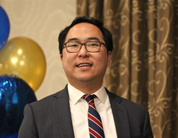 New Jersey 3rd Congressional candidate Andy Kim speaks to supporters at the Westin in Mount Laurel in November 2018