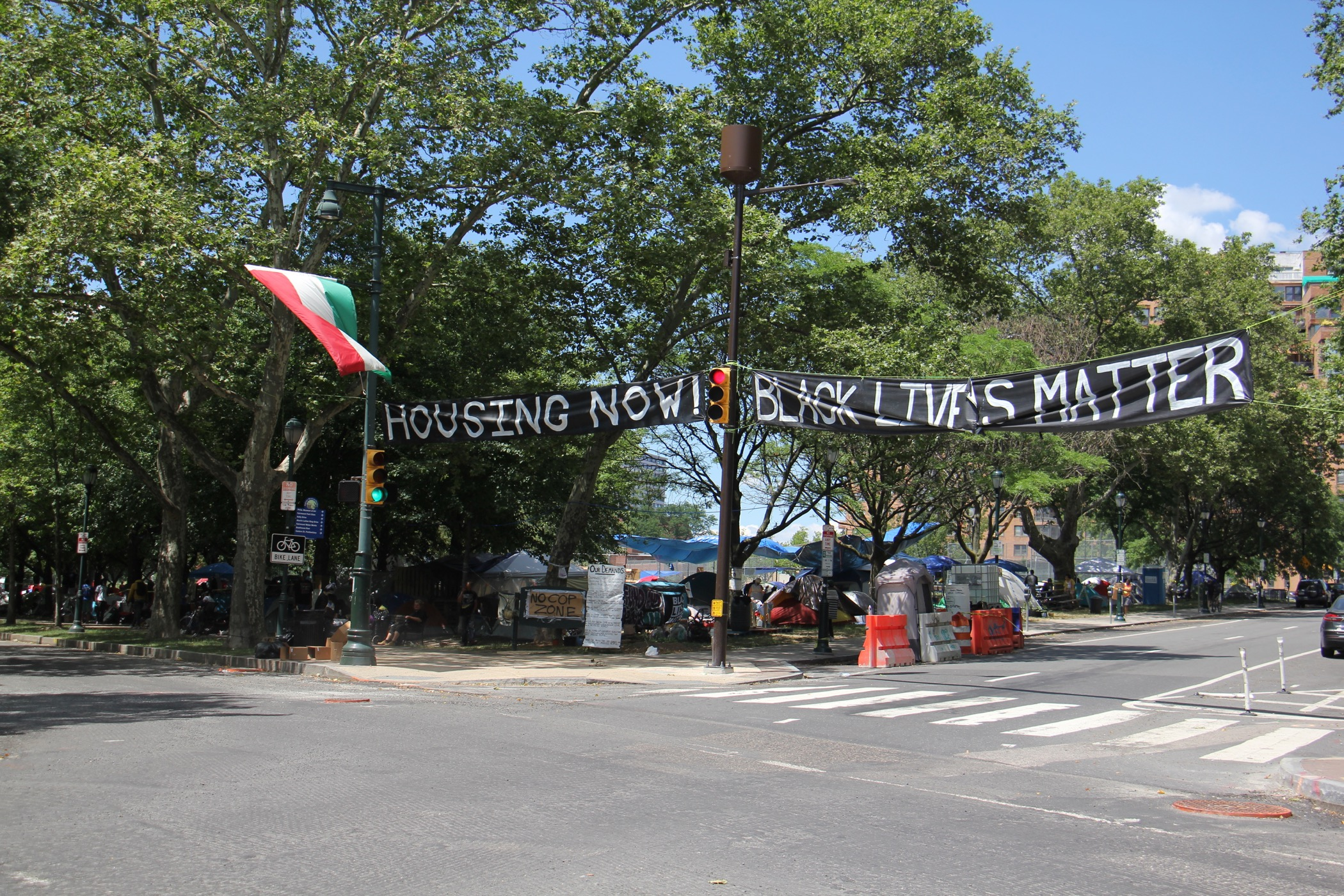 Homeless encampment on Ben Franklin Parkway