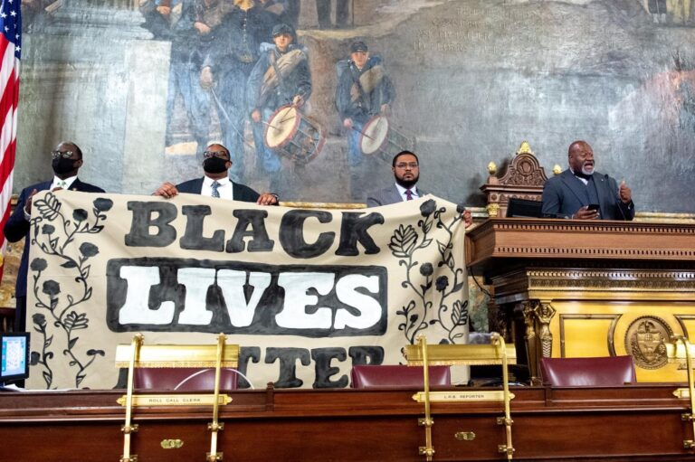 Lawmakers with the  Legislative Black Caucus stage a protest on the Pennsylvania House floor to demand action on bills addressing police violence and brutality, Monday, June 8, 2020. (PA House Dems)