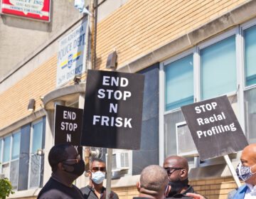 Community groups working against violence in the city of Philadelphia protested stop-and-frisk outside the 26th Police District in Fishtown. (Kimberly Paynter/WHYY)