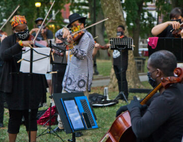 Members of Philadelphia's music community performed at a vigil for Elijah McClain, a violinist who was killed by police in Colorado in June. They performed 'Molto Adagio' (Lyric for Strings) from String Quartet No. 1 by American composer George Walker. (Kimberly Paynter/WHYY)