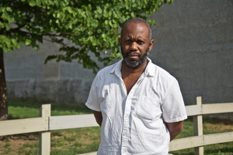 Tayyib Smith is planning to build an entrepreneurship hub on 52nd Street near Arch Street in West Philadelphia. (Kimberly Paynter/WHYY)