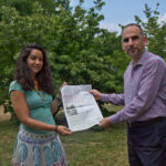 Nora Elmarzouky (left) and Yaroub Al-Obaidi (right) are the editors of the Friends, Peace, Sanctuary Journal, the first Arabic newspaper in Philadelphia in over 100 years. (Kimberly Paynter/WHYY)