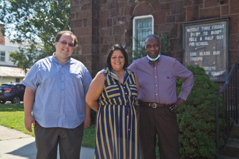 Walt Rice, Connie Vazquez and pastor Edward Johnson