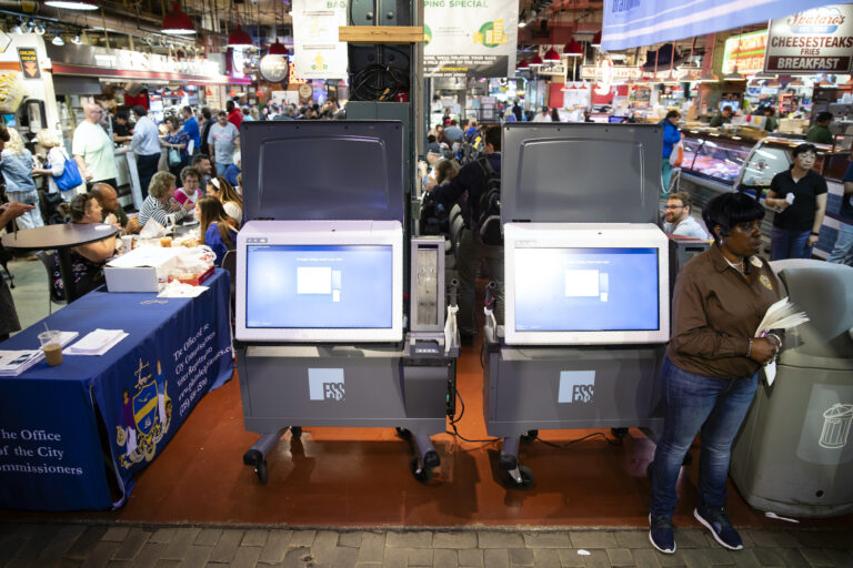 In this June 13, 2019, file photo, ExpressVote XL voting machines are displayed during a demonstration at the Reading Terminal Market in Philadelphia. (AP Photo/Matt Rourke)