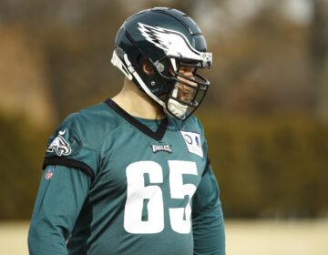 Philadelphia Eagles offensive tackle Lane Johnson warms up at the NFL football team's practice facility in Philadelphia, Thursday, Jan. 2, 2020. (AP Photo/Matt Rourke)