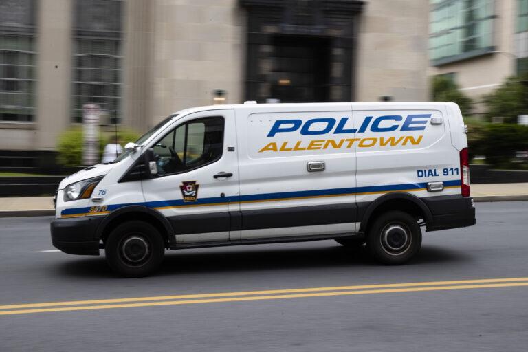 An Allentown, Pa., police van is driven near City Hall on Friday, May 29, 2020.  (AP Photo/Matt Rourke)