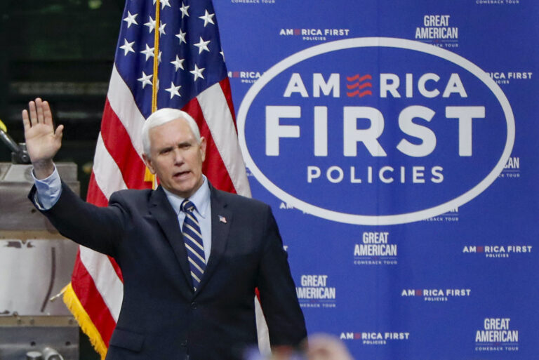 In this June 12, 2020, file photo Vice President Mike Pence, waves as he arrives to speak after a tour at Oberg Industries plant in Sarver, Pa. (AP Photo/Keith Srakocic)