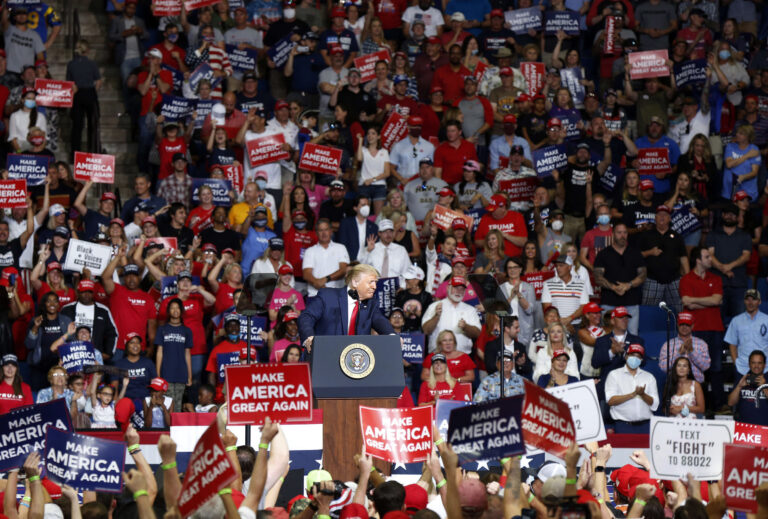 In this Saturday, June 20, 2020, file photo, President Donald Trump speaks at BOK Center during his rally in Tulsa, Okla. (Stephen Pingry/Tulsa World via AP, File)