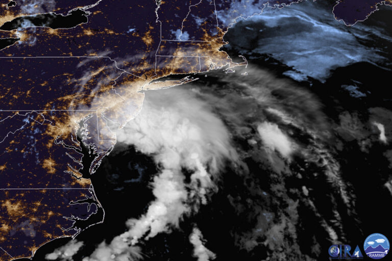 This GOES-16 satellite image taken at 9:30 UTC (5:30 a.m. EDT) on Friday, July 10, 2020 shows Tropical Storm Fay as it moves closer to land in the northeast of the United States. (NOAA via AP)