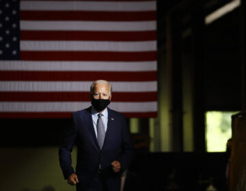 In this July 9, 2020, file photo Democratic presidential candidate former Vice President Joe Biden arrives to speak at McGregor Industries in Dunmore, Pa. (AP Photo/Matt Slocum)