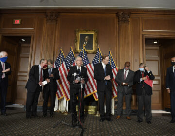 Senate Majority Leader Mitch McConnell of Ky., during a news conference on on Capitol Hill in Washington, Monday, July 27, 2020, to highlight their proposal for the next coronavirus stimulus bill. McConnell is joined by, from left, Sen. John Cornyn, R-Texas, Sen. Lamar Alexander, R-Tenn., Sen. Roy Blunt, R-Mo., Sen. Richard Shelby, R-Ala., Sen. Tim Scott, R-S.C., Sen. Lindsey Graham, R-S.C., and Sen. Mitt Romney, R-Utah. (AP Photo/Susan Walsh)