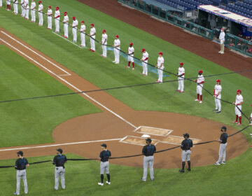 The Phillies held their season opener against the Miami Marlins on July 24, 2020.  Because of the COVID-19 pandemic all Major League Baseball games will be played without fans.  In honor of the Black Lives Matter and in the memory of George Floyd players on both teams held a symbolic black ribbon for social justice and unity before the game.