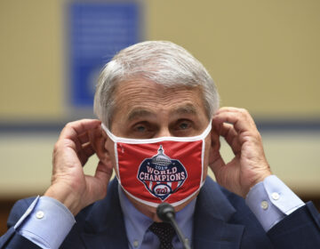 Dr. Anthony Fauci, director of the National Institute for Allergy and Infectious Diseases, adjusts his face mask during a House Subcommittee on the Coronavirus crisis hearing, Friday, July 31, 2020 on  Capitol Hill in Washington.  (Kevin Dietsch/Pool via AP)
