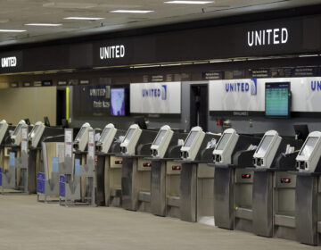 Empty United Airlines ticket machines