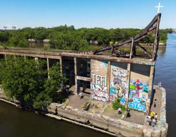 An aerial view of Graffiti Pier