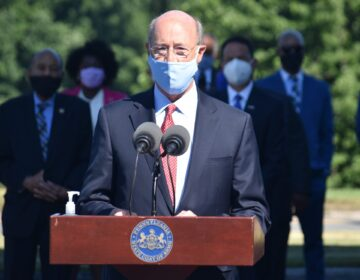 Gov. Tom Wolf speaks during a news conference outside the Pennsylvania Commission on Crime and Delinquency in Harrisburg, Pa., on July 14, 2020. (Ed Mahon/PA Post)