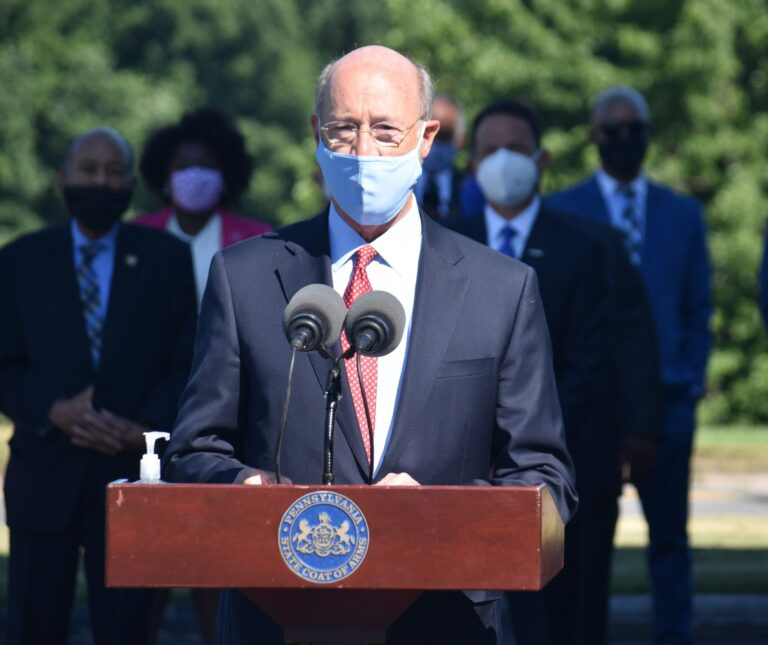 Gov. Tom Wolf speaks during a news conference. (Ed Mahon/PA Post)