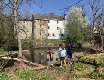 Kids exploring the Wissahickon creek near the historic Evans-Mumbower Mill. (Photo by Julie Watt)