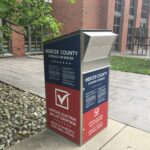 One of many ballot drop boxes in New Jersey for Tuesday's primary election.  (Evelyn Tu for WHYY)