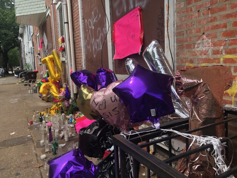 A memorial has been construction in honor or 19-year-old Nakysha Richardson, who was shot and killed July 6 on Pine Street. (Cris Barrish/WHYY)