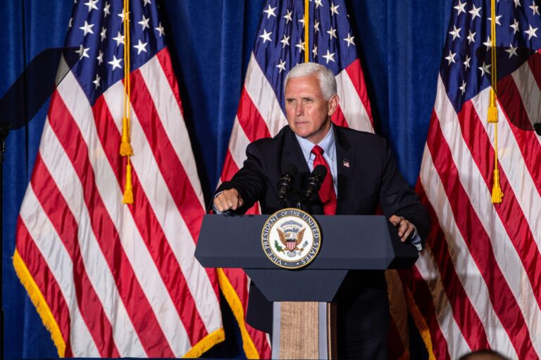 """Vice President Mike Pence speaks at the """"Back the Blue"""" rally at Philadelphia FOP Lodge #5. (Kimberly Paynter/WHYY)"""