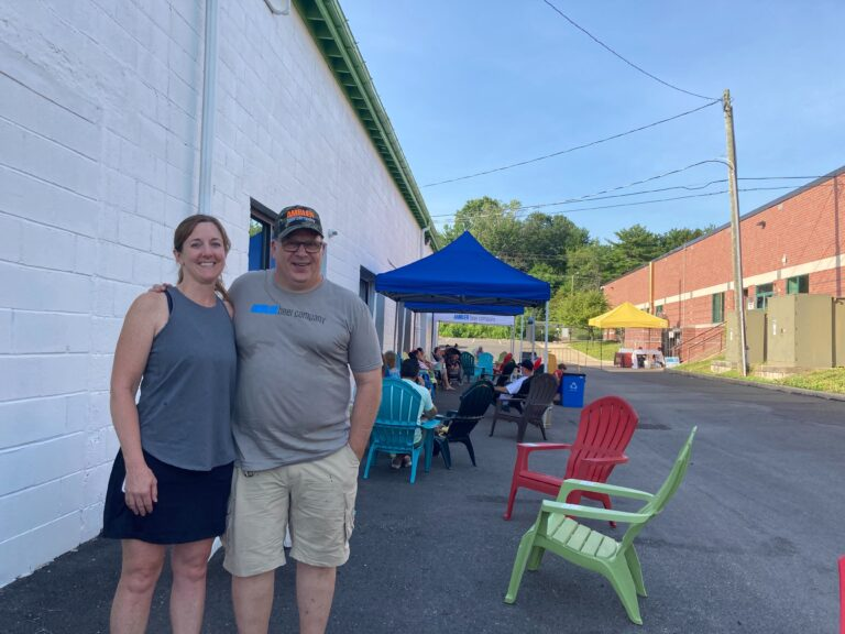 Liz and Doug Buddle own Ambler Brewing Company in Ambler, Pennsylvania. They have had to make multiple adjustments to their business operation to try and keep earning revenue during the pandemic. (Zachariah Hughes/WHYY)