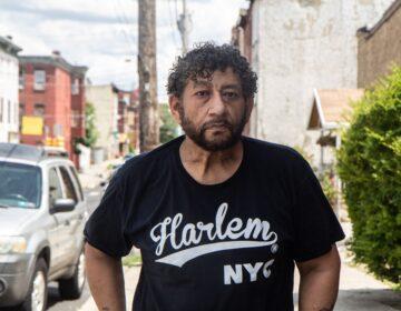 Jose de Marco outside his home in Philadelphia's Kensington neighborhood. (Kimberly Paynter/WHYY)