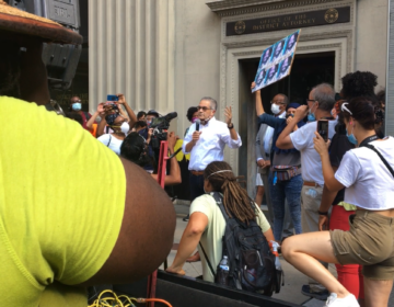 Protesters gathered outside Philadelphia District Attorney Larry Krasner's office Monday, July 13, 2020.