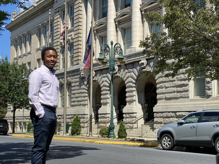 John Zabala, pictured in front of Reading City Hall, has been named as a community lead for the Reading Youth Commission. Too old to serve on the commission, Zabala is attracting applicants to the commission that has been dormant since its creation in 2017. (Anthony Orozco/PA Post)