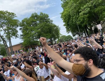 Hundreds of people filled the street outside Lebanon's courthouse at a Black Lives Matter protest in early June. (Alanna Elder/WITF)