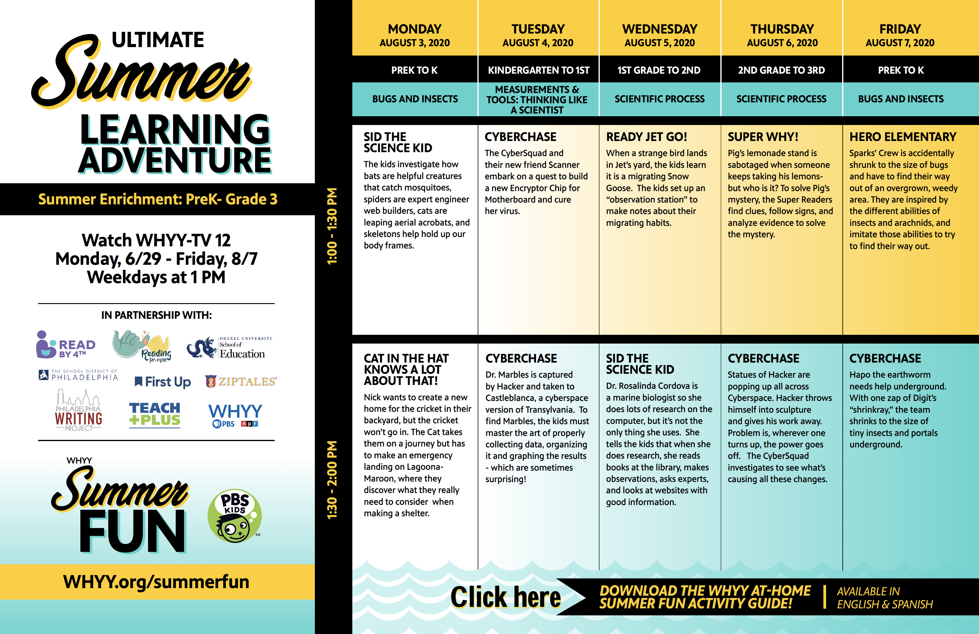 WHYY Summer Learning Adventure August 3-August 7