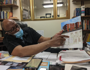 """There is absolutely no affordable housing in East Oak Lane. Period,"" says pastor Wilbert Richardson as he sits in his office at Refuge Evangelical Baptist Church on Wednesday. — (Michael D'Onfrio / The Philadelphia Tribune)"