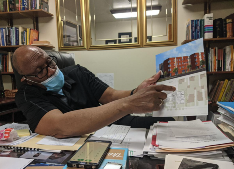 """""""There is absolutely no affordable housing in East Oak Lane. Period,"""" says pastor Wilbert Richardson as he sits in his office at Refuge Evangelical Baptist Church on Wednesday. — (Michael D'Onfrio / The Philadelphia Tribune)"""