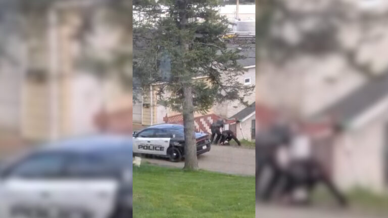 A video surfaced of Police Chief Hiel Bartlett and another officer, Patrolman Matthew Gustin, making an arrest in which some Bradford, Pa. residents say they used excessive force. (Screenshot)