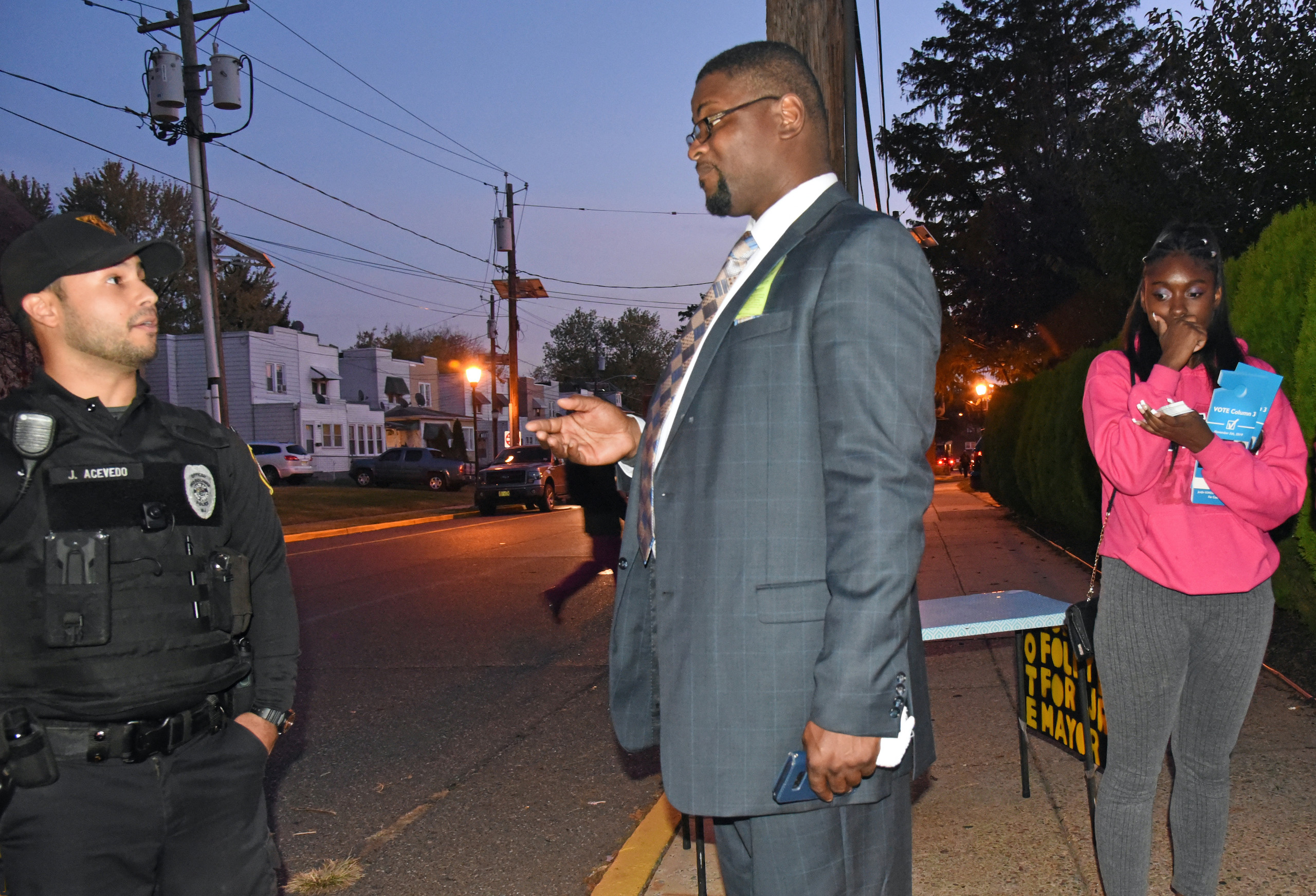 Councilman Clyde Cook, Officer Javier Acevedo and Tracy Cook