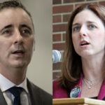 Bucks County Congressman Brian Fitzpatrick (left) and Ivyland Borough Councilmember Christina Finello. (AP Photo and Emma Lee/WHYY)