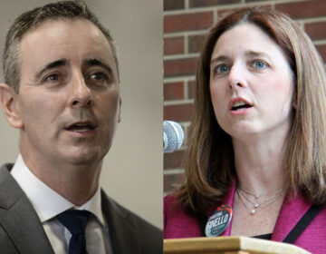 Bucks County Congressman Brian Fitzpatrick (left) and Ivyland Borough Councilmember Christina Finello. (AP Photo and Emma Lee/WHYY)
