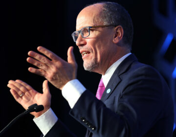 Tom Perez, Democratic National Committee chair, speaks during an event in February in Charlotte, N.C. Perez and other Democrats are approving their party platform on Monday. (Joe Raedle/Getty Images)