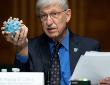 Director of the National Institutes of Health, Dr. Francis Collins, holds a model of the coronavirus as he testifies at a US Senate hearing to review Operation Warp Speed: the researching, manufacturing, and distributing of a safe and effective coronavirus vaccine, in Washington, DC, on July 2, 2020. (Saul Loeb/Pool/AFP via Getty Images)